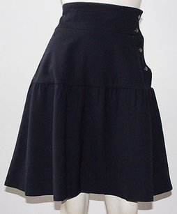 Marni Navy Wool Blend Tiered Side Snap A Line Xlnt Skirt Blue