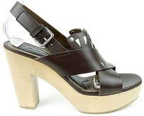 Marni Leather Slingback Brown Platforms