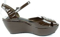 Marni Coffee Patent Leather Ankle Strap Wedge Sandals Eu Dark Brown Platforms