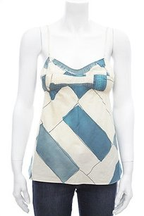 Marni Cream Geometric Top Blue
