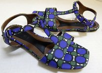 Marni Italy Blue Green Flat Multi-Color Sandals