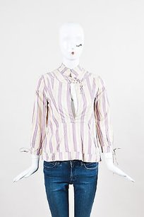Marni Cream Purple Silk Top Cream, Purple, Yellow