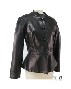 MARTIN GRANT Leather Peplum BLACK Jacket