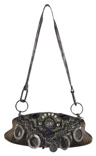 Mary Frances Womens Taupe, Pewter Clutch