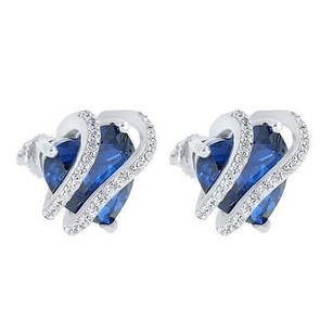 Master Of Bling Blue Ruby Cz Earrings Solitaire Womens Gift Screw Back Sterling Silver Pave Set