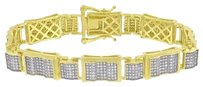 Master Of Bling Gold Tone Mens Bracelet Gold Tone Over Sterling Silver Simulated Diamonds 11mm