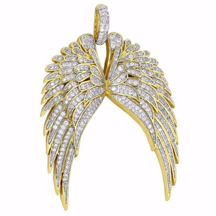 Guardian Angel Wings Charm Simulated Stones Guidance Gold Plate Pendant Classy