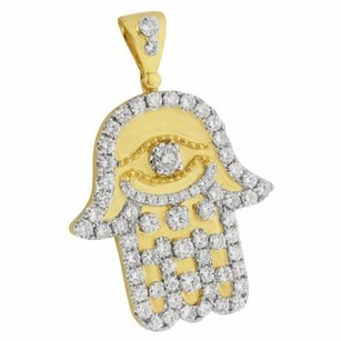 Master Of Bling Hamsa Hand Pendant Solitaire Evil Eye Round Cut 14k Gold Solid Back Real Diamond
