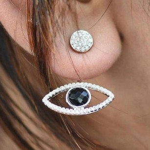 Master Of Bling Evil Eye Womens Earrings Black Onyx Solitaire Sterling Silver Iced Out Ladies