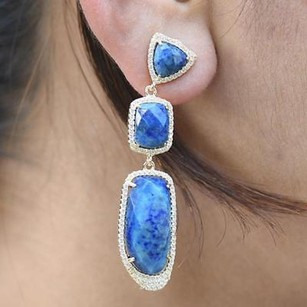 Master Of Bling Lapis Lazuli Gemstone Earrings Solitaire Gold Plated Sterling Silver Womens