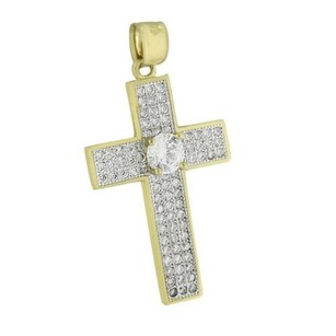 Solitaire Round Cut Cross Pendant Iced Out 10k Yellow Gold Simulated Diamonds