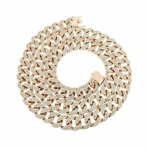 Mens Miami Cuban Necklace Chain Bling Iced Stones Rose Gold Tone18 Mm Thick