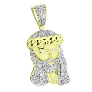 Master Of Bling Miami Cuban Jesus Christ Face Pendant Genuine Diamonds 10k Yellow Gold 1.25 Ct