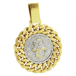 Master Of Bling Miami Cuban Round Pendant Hamsa Hand Genuine Diamonds Pave Set Solid Back 1.9 In