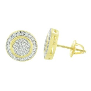 Master Of Bling Round Designer Earrings Simulated Diamonds Screw Back 14k Yellow Gold Tone Studs