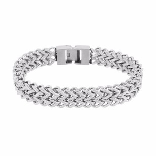 Master Of Bling Row Franco Bracelet Link Silver Tone Solid Stainless Steel Classy Mens Band