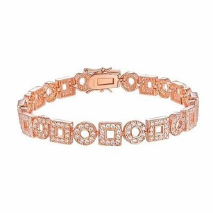 Master Of Bling Square Circle O Link Bracelet Rose Gold Finish Over 925 Silver Simulated Diamond