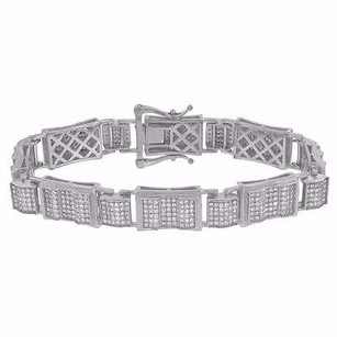Sterling Silver Bracelet Iced Out Simulated Diamonds Rapper Wear Hip Hop Pave