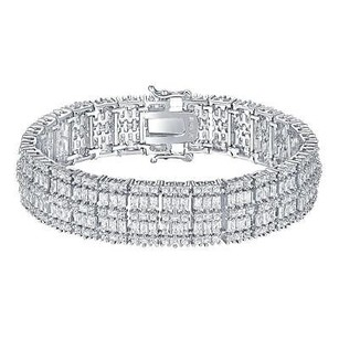 Master Of Bling Sterling Silver Womens Bracelet Simulated Diamonds Ladies Princess Cut Design