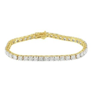 Master Of Bling Tennis Solitaire Bracelet 1 Row 14k Gold Genuine Diamonds Round Cut 11.81 Carats