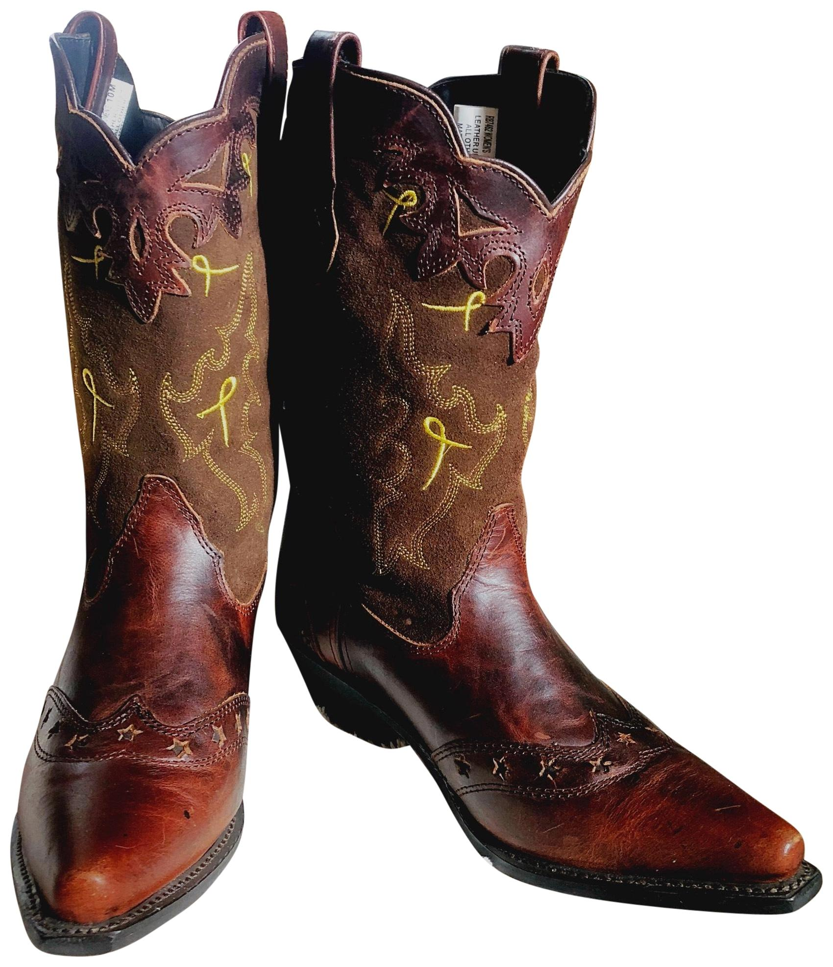 brown co all leather distressed western 7462 boots