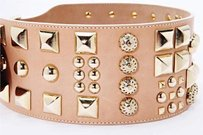 Matthew Williamson Matthew Williamson Womens Taupe Nude Studs Leather Wide Waist Belt