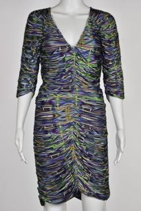 Matthew Williamson Womens Printed Causal 34 Sleeve Sheath Dress