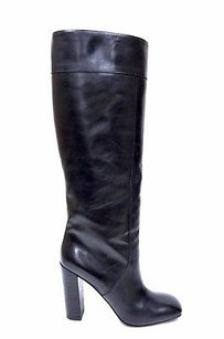 Max & Co. Co Leather Pull On Embossed Heel Tall Blacks Boots