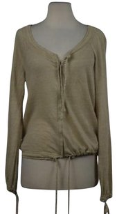 Max & Co. Amp Co Womens Full Zip Linen Shirt Long Sleeve Sweater