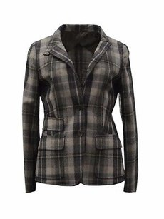 Max Mara Coffee Check Muted Plaid 80845mm Multi-Color Jacket