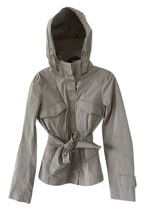 Max Mara Hooded Belted Zippered Taupe Jacket
