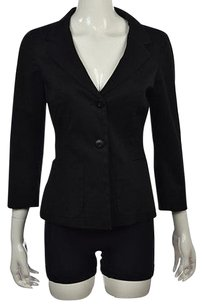 Max Mara Max Mara Womens Black Blazer Wtw Solid Cotton Career Jacket Coat