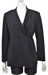 Max Mara Max Mara Womens Navy Blue Blazer Wool Long Sleeve Career Jacket Wtw