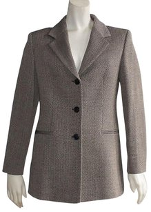 Max Mara Max Mara Beige And Black Knitted Wool Zigzag Long Sleeve Blazer Hs787