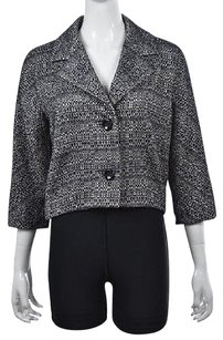 Max Mara Max Mara Womens Blue Tweed Blazer 34 Sleeve Cotton Career Jacket Wtw