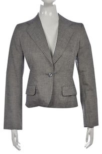 Max Mara Max Mara Womens Gray Speckled Blazer Cotton Long Sleeve Career Jacket