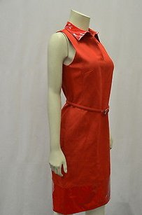 Max Mara short dress Reds Leone Red Belted Shift Glossy Vinyl Collar Hem 120655mm on Tradesy