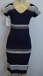 Max Mara Saloon Navywhite Stripes Fitted Stretch Knit 100056mm Dress