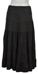 Max Studio Petite Womens Speckled A Line Below Knee Casual Skirt Gray