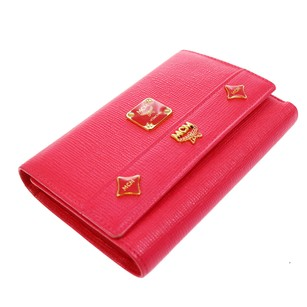 MCM MCM Trifold Wallet Leather Pink Charm Box
