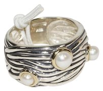 Meredith Leifg Meredith Leigh 14k Gold and 925 Sterling Silver FW Pearls Ring