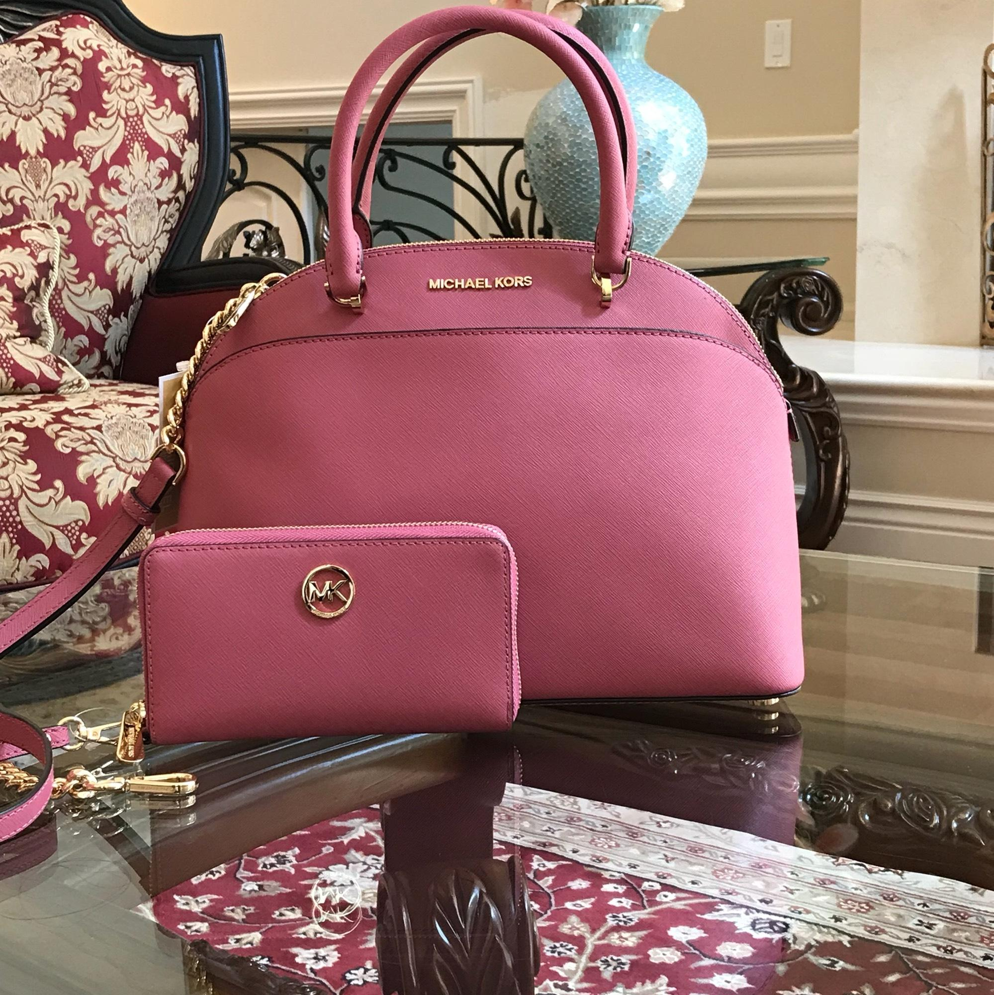 1972f2e96640 ... where can i buy michael kors emmy crossbody strap large leather satchel  in tulip b1168 02b31