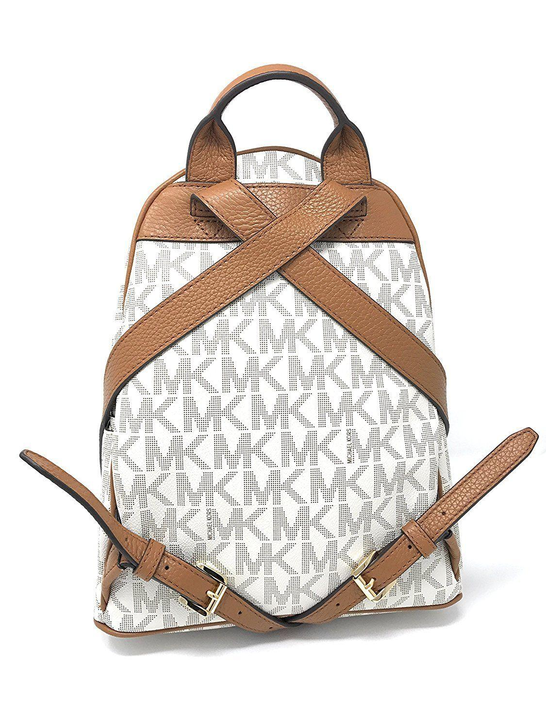 ad92326a1b0a france michael kors abbey medium frame out stud signature vanilla leather  backpack tradesy ea789 36fc1