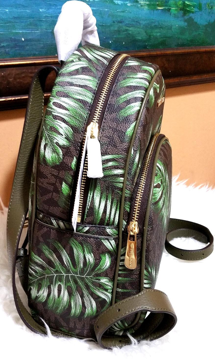 302ae961eb93b6 reduced michael kors abbey medium palm tree wallet set brown olive  signature pvc leather backpack tradesy