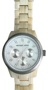 Michael Kors Acrylic Horn Watch with Silver Face
