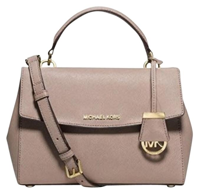 c3303c40b8db ... coupon code for michael kors ava messenger leather crossbody ballet  satchel in dark dune a3b85 022b7 ...