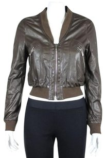 Michael Kors Womens Solid Long Sleeve Leather Blend Basic Brown Jacket