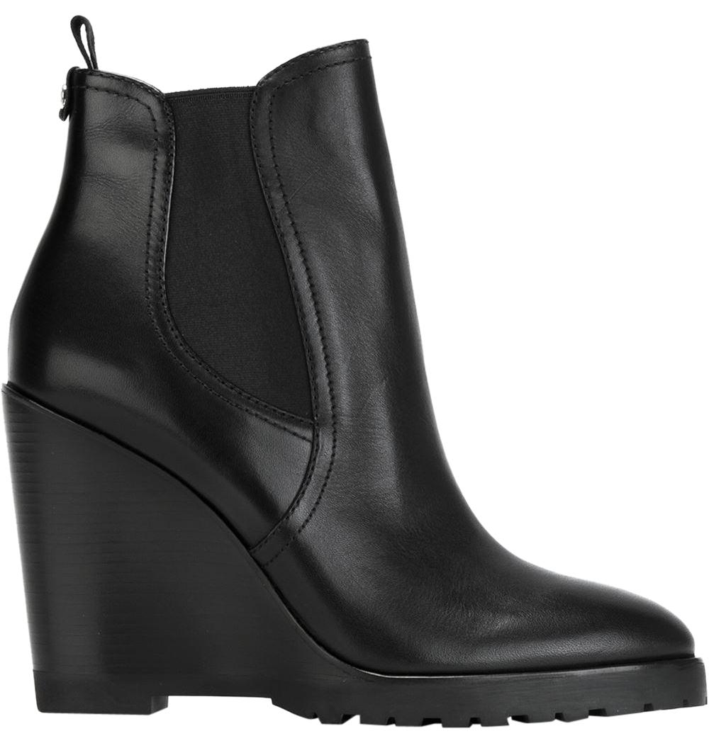 Michael Kors Wedge Leather Ankle Black Boots