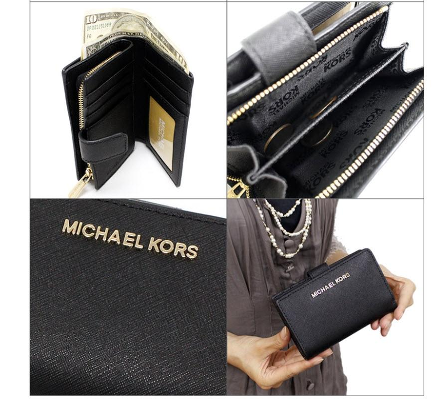 e45fee4ee582 ... low price michael kors black silver jet set travel bifold zip coin  wallet 35f7gtvf2l. dd1e4