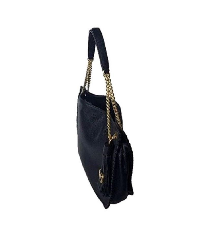 5021e2dea10a ... canada michael kors chelsea whipped large tz zip pebbled chain black  leather shoulder bag tradesy 79994